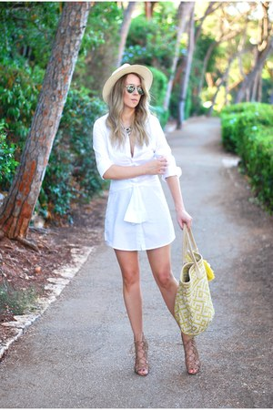 white asos dress - yellow Mango bag - bronze Zara heels