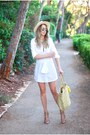 White-asos-dress-yellow-mango-bag-bronze-zara-heels