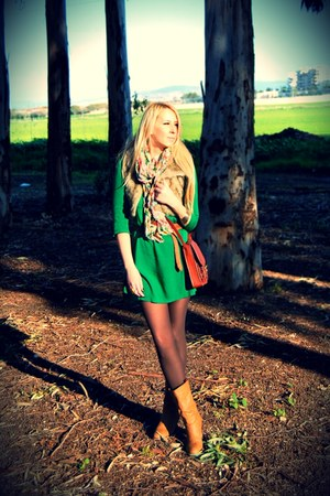 green Mango dress - light pink Forever 21 scarf - tawny H&amp;M bag