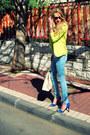 Sky-blue-zara-jeans-lime-green-forever-21-blazer-ivory-forever-21-bag