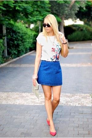 ivory Oasis shirt - chartreuse Primark bag - blue Topshop skirt