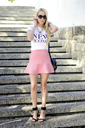 light pink Zara skirt - white H&M t-shirt - black Mango sandals