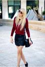 Red-zara-top-black-zara-skirt