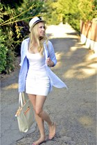 beige Forever 21 hat - sky blue H&M shirt - white H&M skirt
