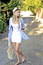 beige Forever 21 hat - sky blue H&M shirt - white H&M skirt