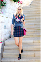 navy Zara skirt - magenta H&M top