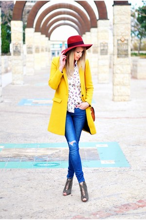mustard Zara coat - blue Zara jeans - carrot orange H&M hat