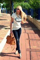 white Zara t-shirt - dark gray H&M jeans - burnt orange Zara bag