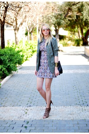 light brown Zara dress - army green H&M jacket - black Zara bag