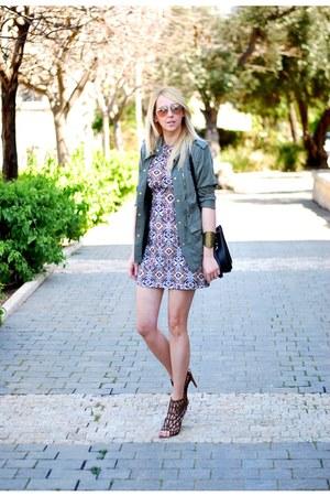 light brown Zara dress - army green H&M jacket - black Zara bag