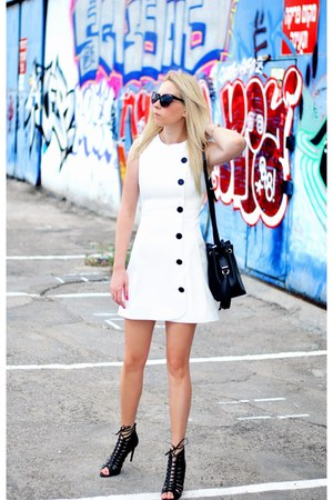 black Zara bag - white asos dress - black Zara heels