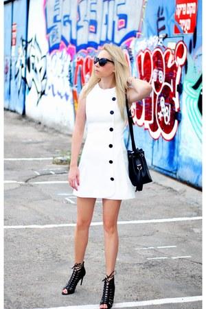black Zara bag - white asos dress - black Zara heels