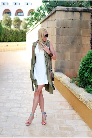 dark khaki Zara vest - white River Island dress - neutral River Island heels