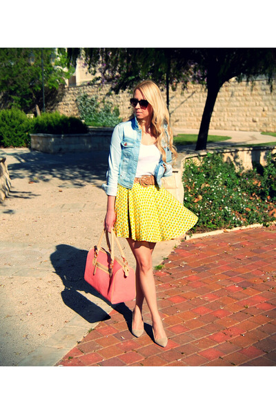 sky blue Zara jacket - salmon Bershka bag - yellow Forever 21 skirt