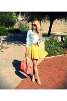 sky blue Zara jacket - salmon Bershka bag - yellow Forever 21 skirt