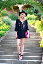 black Forever 21 dress - black Forever 21 hat - maroon Stradivarius bag