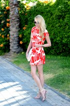 red Zara dress - ivory H&M bag