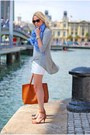 Blue-forever-21-scarf-burnt-orange-pull-bear-bag-white-h-m-skirt