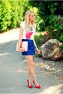 White-zara-t-shirt-blue-zara-skirt-red-pull-bear-heels