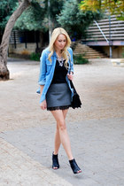 light blue Forever 21 shirt - charcoal gray Zara skirt - black Forever 21 heels
