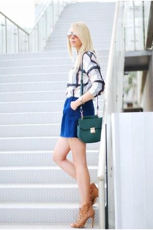 dark green Zara bag - navy Zara skirt - off white Zara top - camel Zara heels