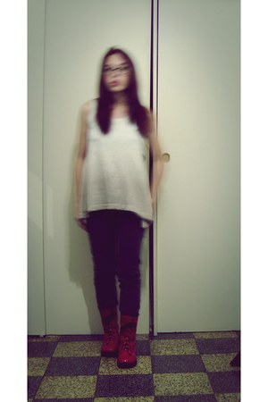 red boots - gray Zara Girls pants - cream Neutroni blouse