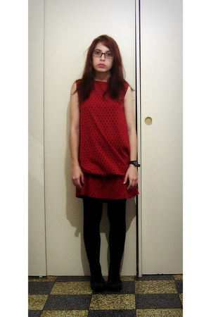 red dress - black Converse shoes - black Zara socks