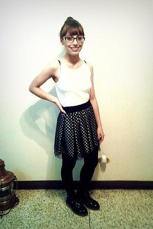 black patent boots - white shirt - black tights - black skirt