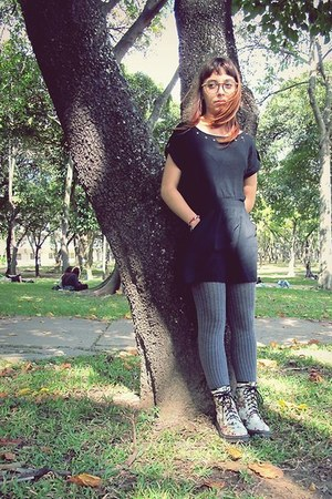 white boots - black dress - gray tights