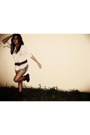 Forever 21 blouse - Forever 21 belt - Forever 21 boots -