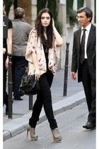 heather gray heels - light pink blazer - black bag - black pants