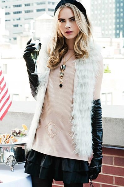 black hat - light pink blouse - black leather gloves - black leather skirt