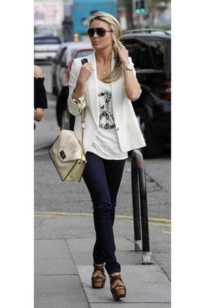 white blazer - navy denim jeans - eggshell bag - white top - dark brown glasses