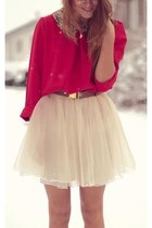 eggshell skirt - red shirt - black collar accessories - brown belt