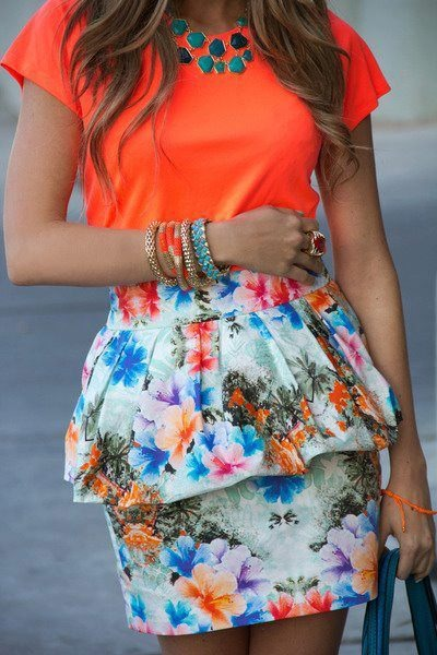 blue Zara skirt - carrot orange neon Zara t-shirt - turquoise blue H&M necklace
