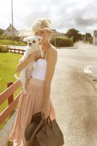 light pink maxi skirt - light brown hat - light brown bag - white top