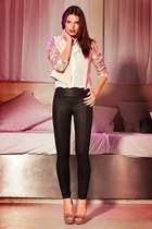 neutral blazer - off white bow collar shirt - black pants - tan heels