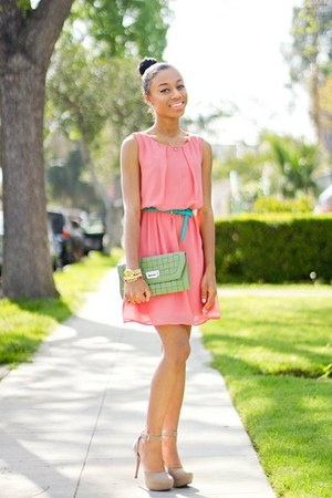 bubble gum dress - lime green bag - sky blue belt - tan heels