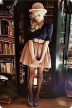 light pink hat - navy shirt - light pink skirt - light pink roses belt