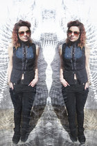 black high waisted Primark pants - burnt orange vintage sunglasses