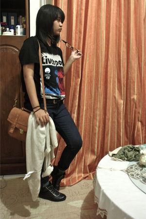black pull&bear shirt - blue Zara jeans - beige pull&bear cardigan - black Levis