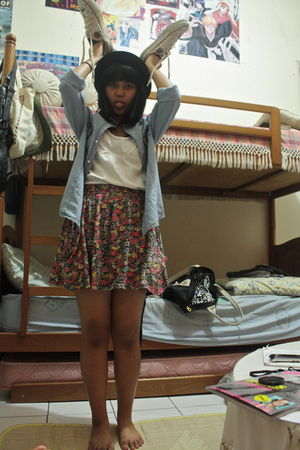 blue Zara shirt - black Zara hat - red Zara skirt - beige Converse shoes