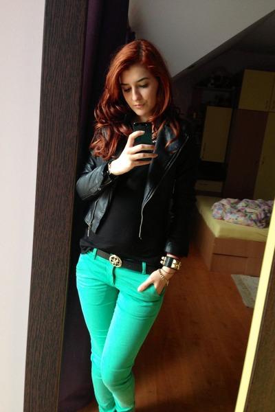 black Lee Cooper jacket - black Guess belt - green Lee Cooper pants
