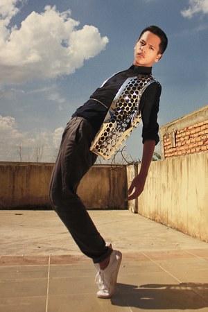 DIY cardigan - The Executive shirt - H&M sneakers - giordano pants