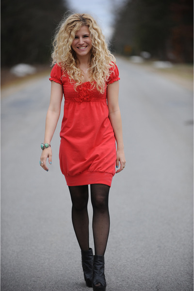 red kensie dress - black American Apparel tights - black Aldo shoes