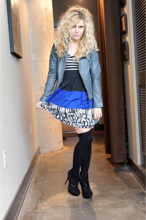 blue Kimchi Blue dress - black American Apparel socks - black Steve Madden shoes