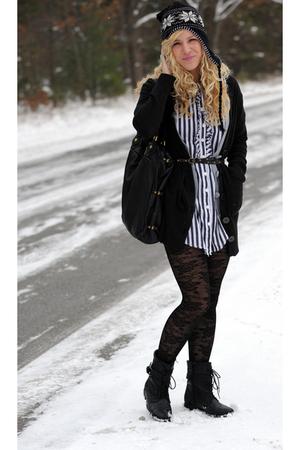 black Express cardigan - black hat - black Gap belt - gray Forever 21 shirt - gr