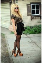 brown leopard print rd design blouse - orange Jessica Simpson shoes