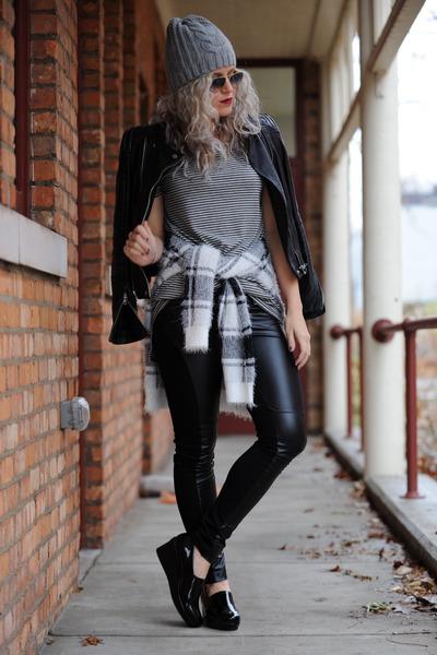 leather Zara jacket - Forever 21 sweater - leather BCBG leggings