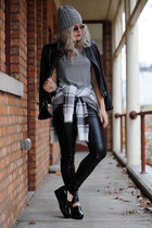 leather Zara jacket - Forever 21 sweater - leather BCBG leggings
